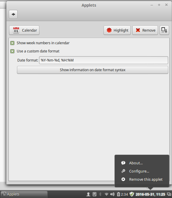 Change Date and Time format for LinuxMint panel applet